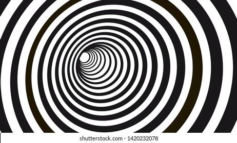 Geometric hypnotic spiral. Black and white striped optical illusion illustration. Geometrical wormhole shape pattern.