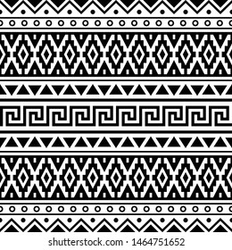 Geometric Ikat Aztec Pattern design black white color. Inca, maya, native, navajo, egypt, indian, peruvian, mexican Traditional tribal design