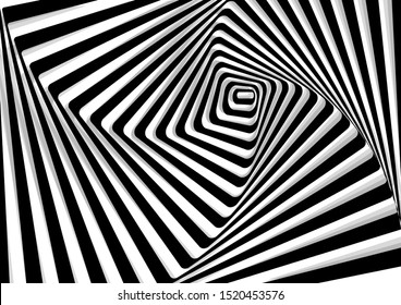 geometric illusion background, black and white curved lines, vector illustration, eps 10