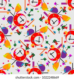 Geometric illustration of alarm clock cubism supermatism. A square, a circle of a line. Stylization for the works of Malevich in the style of Cubism futurism Suprematism. Seamless pattern