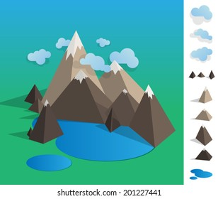 Geometric illustration of mountain landscape with lake, colourful with used elements set like cloud, mountains, lake - EPS