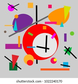 Geometric illustration of retro alarm clock cubism supermatism. A square, a circle of a line. Stylization for the works of Malevich in the style of Cubism futurism Suprematism.