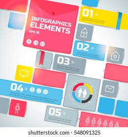 Geometric infographic business template with light colorful blocks text ribbons five options steps icons isolated vector illustration