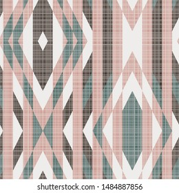 Geometric kilim seamless repeat vector pattern with burlap texture.  Rug inspired design from a grid.  Pink, green, and brown.  Shapes like a tile or mosaic.