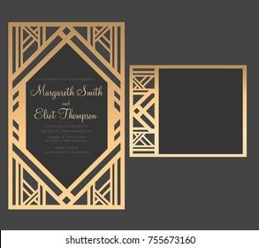 Geometric laser cut wedding invitation. Art deco design.