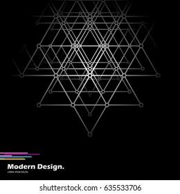 Geometric layout. Black and white mosaic background.