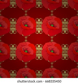 Geometric leaf ornament. Seamless abstract floral pattern on a red background. Seamless pattern with poppy flowers. Cute vector background. Graphic modern pattern.