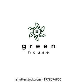 geometric leaves and house ecology natural logo icon vector template