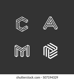 Geometric letter and abstract set. Modern style. Vector illustration.