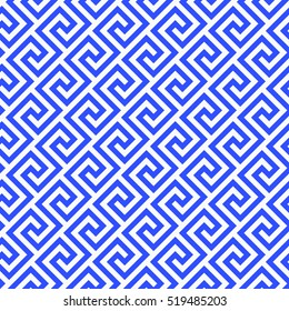 Geometric line. abstract seamless pattern with Greek antique motif. Vector illustration. Abstract background for the fabric cloth, fashion, ceramic floor, ornament textile, texture. blue porcelain