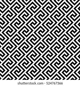 Geometric line. abstract seamless pattern with Greek antique motif. Vector illustration. Abstract background for fabric cloth, fashion, ceramic floor, ornament textile, texture. Black and white color