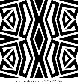 Geometric line art pattern over white background. Seamless monochromatic wallpaper. Usable as black and white tiling, wrappping papers, wallpapers etc.
