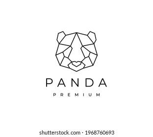 Geometric Line Art Style of Panda logo design vector illustration