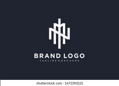 Geometric Line Initial Letter MN or NM Logo isolated on Black Background. Flat Vector Logo Design Template Element.