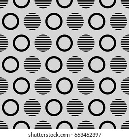 Geometric line monochrome abstract hipster seamless pattern with circle. Graphic texture for design, wallpaper, fabric