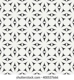 Geometric line monochrome lattice seamless arabic pattern. Islamic oriental style. Wrapping paper. Scrapbook paper. Tiling. White vector illustration. Moroccan background. Graphic texture. Pattern.