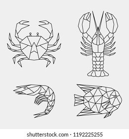 Geometric linear crab, lobster, shrimp, fish. Set of abstract black polygonal sea animals.Vector illustration.