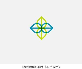 Geometric linear logo icon of four leaves plants flower