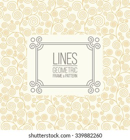 Geometric linear pattern and monoline frame. Vintage colors. Seamless abstract vector background. Package design - badge with geometric border and place for your floral monocrest logo, identity, text.