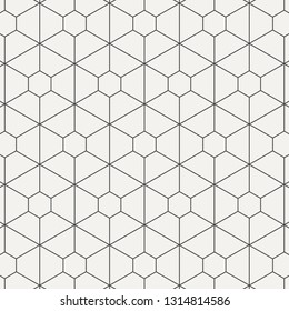 geometric linear vector pattern, repeating thin line hexagon and trapezoid shape. graphic clean for printing, fabric, background. pattern is on swatches panel