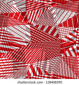 Geometric lined seamless pattern, red and grey vector background, eps 8.