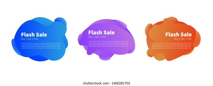 Geometric liquid colorful abstract shapes set. Modern design isolated white background. Can use for background on website or mobile apps.