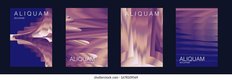 Geometric Liquid Texture. Business Background. Indigo and Purple Metallic Vintage Paper Gradient Texture. Light Stylish Luxury Flyer. Fluid Minimal Designs. Abstract Vector Template.