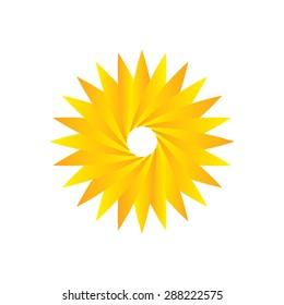 Geometric logo design template, circle shape, flower symbol, sun shape.