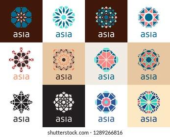 Geometric logo template set. Vector mosaic oriental ornamental symbols