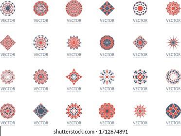 Geometric logo template set. Vector ornamental symbols