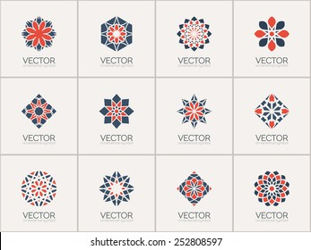Geometric logo template set. Vector ornamental symbols