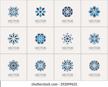 Geometric logo template set. Vector arabic ornamental symbols