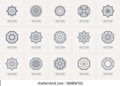 Geometric logo template set. Vector circular arabic ornamental symbols