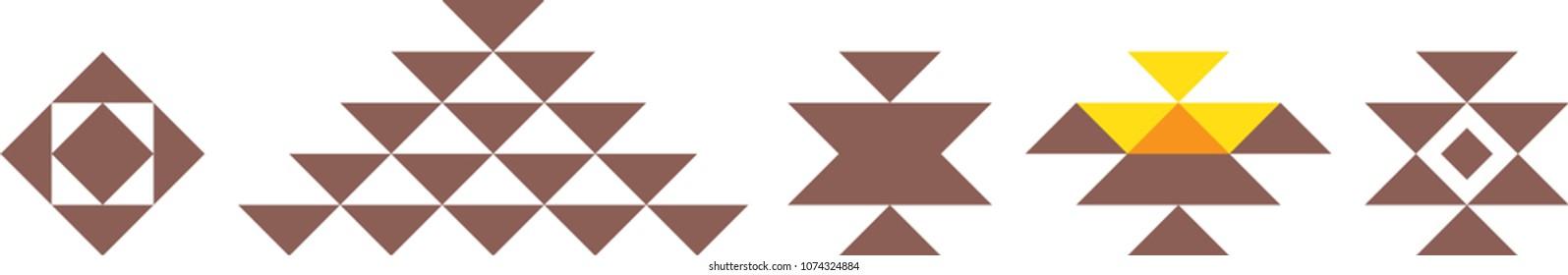 Geometric logo template vector circular Arabic ornamental symbols, sadu pattern, Islamic decoration vector pattern