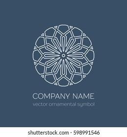 Geometric logo template. Vector linear arabic ornamental symbol