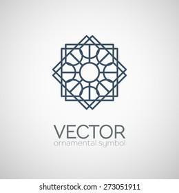 Geometric logo template. Vector ornamental lineart symbol