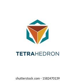 Geometric logo of tetrahedron and hexagon
