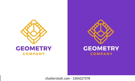 Geometric Logotype template, positive and negative variant, corporate identity for brands, sacred product logo, vector design