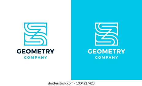 Geometric Logotype template, positive and negative variant, corporate identity for brands, square product logo, vector design