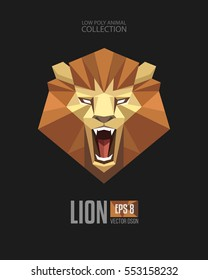 Geometric Low Polygon Style Lion majestic roaring looking face head mascot logo icon. Origami style Lion. Modern Triangular Animal Symbol Collection. Template for print design apparel