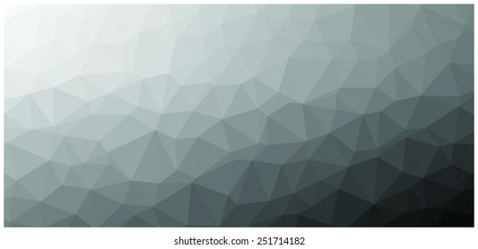Geometric Low polygonal Black and white vector background texture.  Triangle, low poly art. Polygonal surface.
