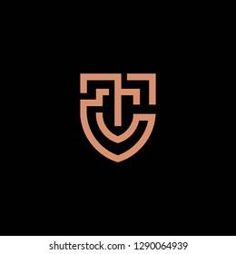 geometric luxurious monoline letter TC monogram initial logo icon vector template