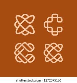 geometric luxurious monoline monogram letter c initial lettermark logo icon vector template set pack bundle collection