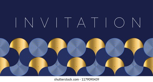Geometric luxury water waves header pattern. Blue sea wave vector illustration for invitation, cover, border. element for design.