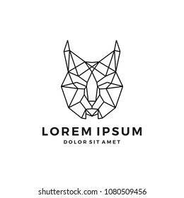 geometric lynx head logo vector icon line art outline download