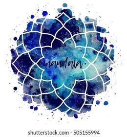 Geometric mandala flower frame. Watercolor texture and splash. Blue, purple, turquoise colors. Cosmic space texture. Vector illustration edited