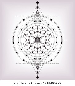 Geometric mandala with hand drawn lotus flower and stars. Stylized wheel samsara.