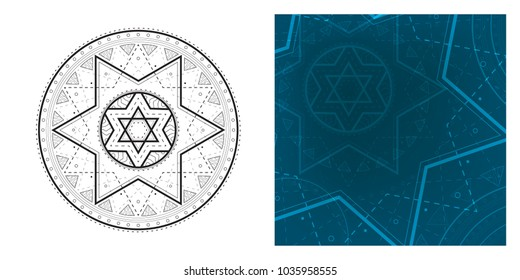 Geometric mandala with Star of David in center and colorful square template. Round pattern for coloring book.