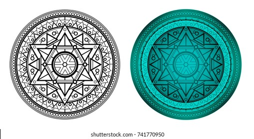 Geometric mandala with Star of David in center. Round pattern for coloring book. Illustration for card, banners, invite