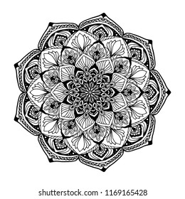 Geometric Mandala,vector illustration. Islam, Arabic,Coloring book page.